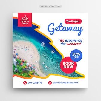 Reizen vakantie vakantie sociale media banner of vierkante folder sjabloon