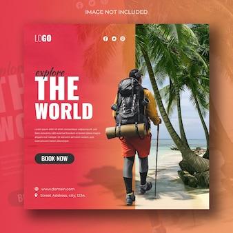 Reizen vakantie vakantie sociale media post banner of vierkante flyer ontwerpsjabloon