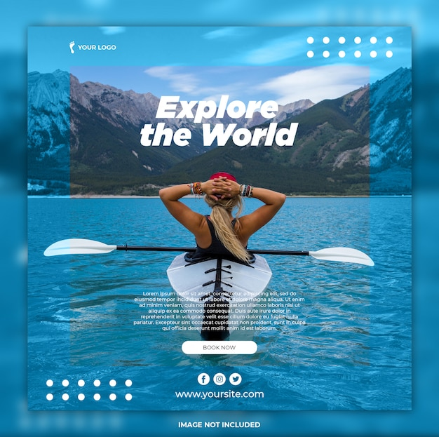 Reizen zomer vakantie vierkante banner en folder sjabloon
