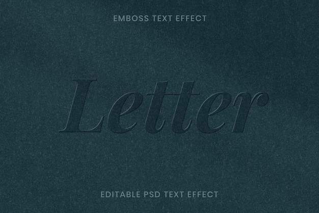 Reliëf teksteffect psd bewerkbare sjabloon op groenboek textuur achtergrond