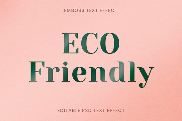 Reliëf teksteffect psd bewerkbare sjabloon op wit papier textur