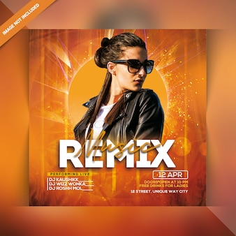 Remix flyer de fiesta de música