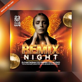 Remix flyer de fiesta nocturna