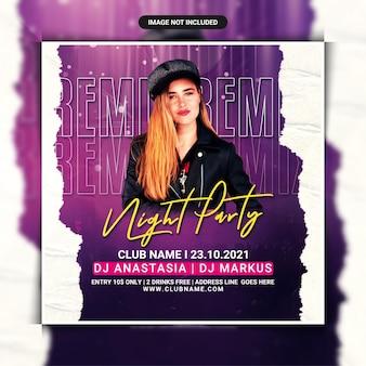 Remix nachtclub feest flyer sjabloon