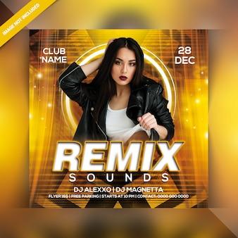 Remix suena flyer de fiesta