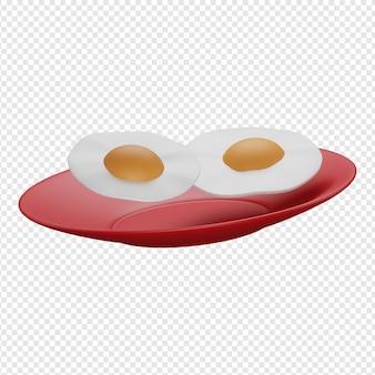 Render 3d aislado de dos huevos en un icono de placa psd