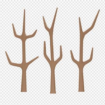 Render 3d aislado del icono de árbol seco psd