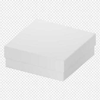 Render 3d aislado del icono de caja blanca psd
