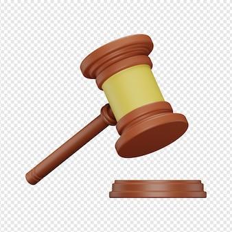 Render 3d aislado del icono de martillo de juez psd