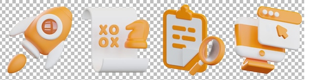 Render 3d aislado de varios objetos