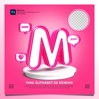 Render 3d del alfabeto m del feminismo con color rosa y elementos