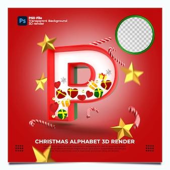Render 3d del alfabeto de navidad p con elementos y colores oro verde rojo
