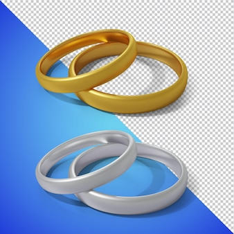 Render 3d de anillo de bodas aislado
