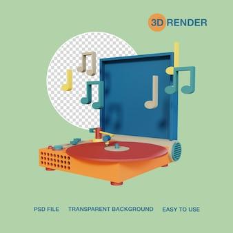 Render 3d aparato finyl machine psd