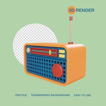 Render 3d aparato radio psd