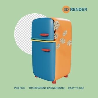 Render 3d aparato refrigerador psd