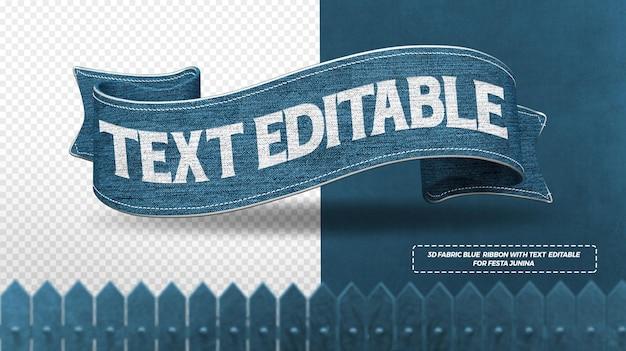 Render 3d-blauwe stoffen linten voor compositie