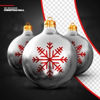 Render 3d de bola de navidad de plata aislado