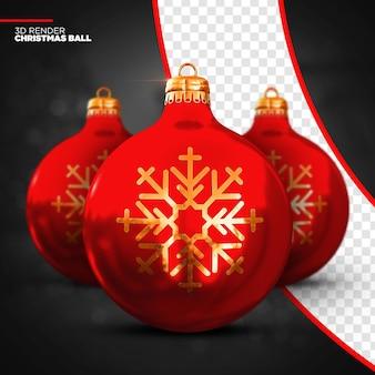 Render 3d de bola de navidad roja aislado
