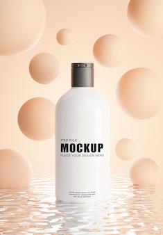 Render 3d de botella de cosméticos realista con fondo abstracto para sus productos