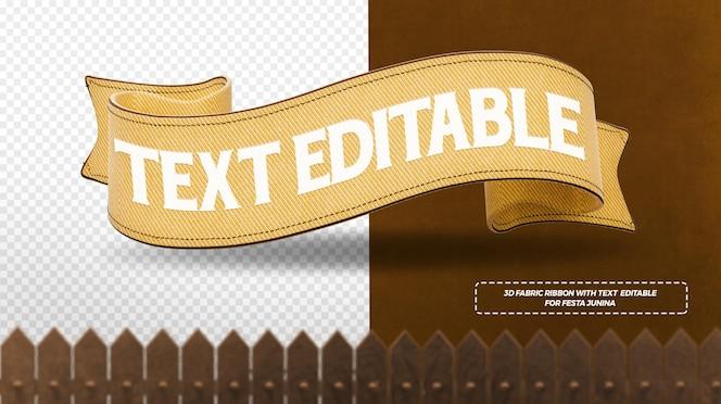Render 3d de cintas de tela amarilla para composición