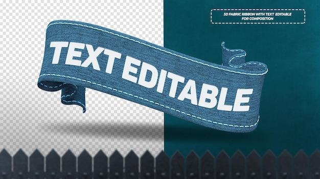 Render 3d cintas de tela azul aisladas