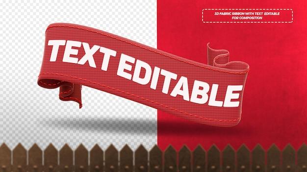 Render 3d cintas de tela roja aisladas