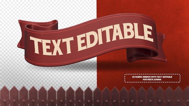 Render 3d de cintas de tela roja para composición