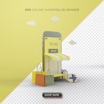 Render 3d de compras en línea con smartphone negro sobre fondo amarillo