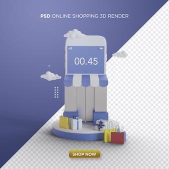 Render 3d de compras en línea con tienda de teléfonos inteligentes sobre fondo azul