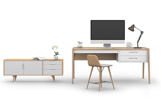 Render 3d de la computadora studio con escritorio, aparador
