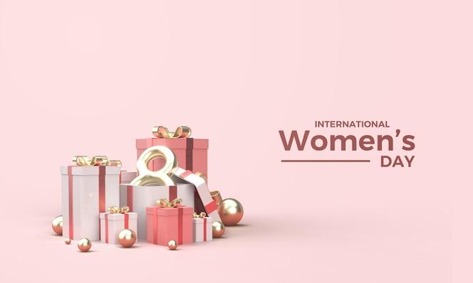Render 3d del día de la mujer con una ilustración de los ocho dorados en una caja de regalo.