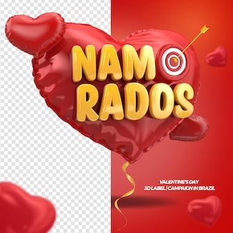Render 3d del día de san valentín en corazón con campaña de cinta en brasil
