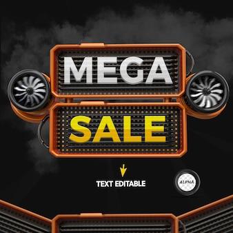 Render 3d-element voor mega-uitverkoopsamenstelling met bewerkbare tekst voor algemene winkels