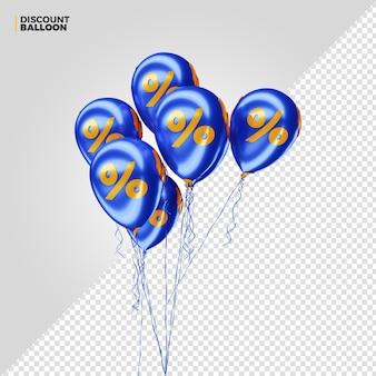 Render 3d de globos de porcentaje de descuento azul para composición