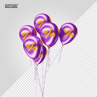 Render 3d de globos de porcentaje de descuento púrpura para composición