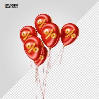 Render 3d de globos de porcentaje de descuento rojo para composición