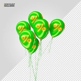 Render 3d de globos de porcentaje de descuento verde para composición