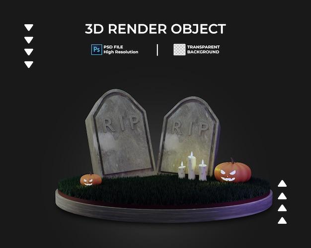 Render 3d de halloween con tumba y calabaza