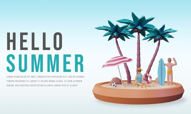 Render 3d de hola banner de verano con diseño de personajes de personas