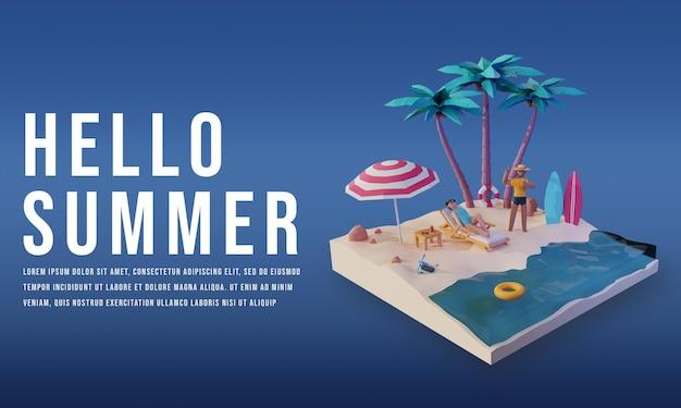 Render 3d de hola verano banner con diseño de personajes de personas premium psd