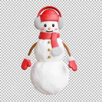 Render 3d de hombre de nieve con feliz navidad sobre fondo transparente, trazado de recorte