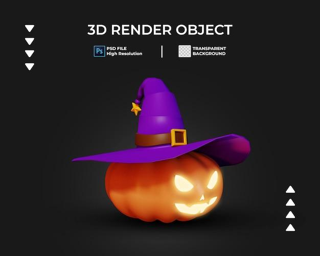 Render 3d del icono de calabaza de halloween aislado