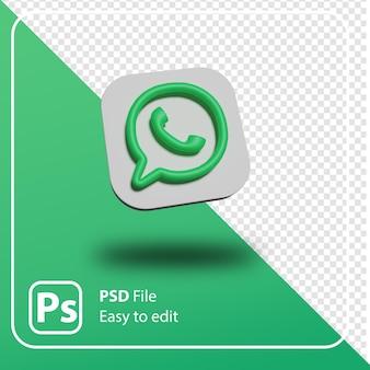 Render 3d logo mínimo de whatsapp