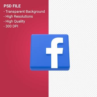 Render 3d del logotipo de facebook aislado