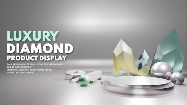 Render 3d de lujo en color cromo diamante para la venta del podio del producto