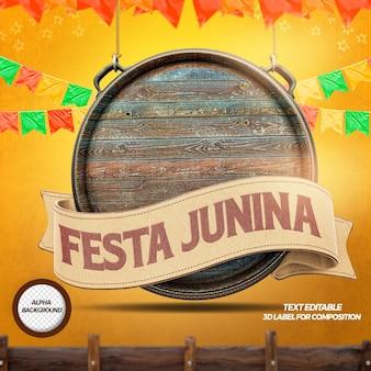 Render 3d de madera con cintas para la composición de junina de fiesta