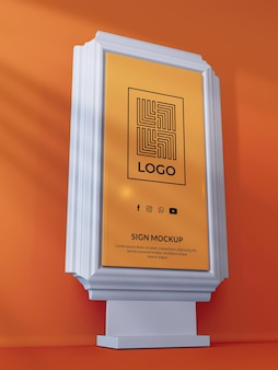 Render 3d de maqueta de logotipo de letrero moderno