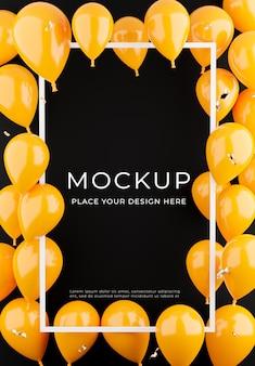 Render 3d de marco blanco con globos naranjas, concepto de compra de carteles para exhibición de productos