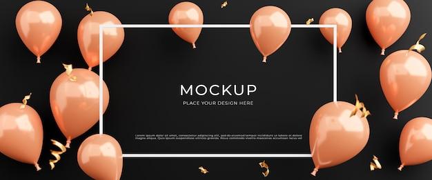 Render 3d de marco blanco con globos rosas, concepto de compra de carteles para exhibición de productos